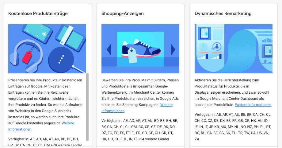 Möglichkeite von Google Shopping