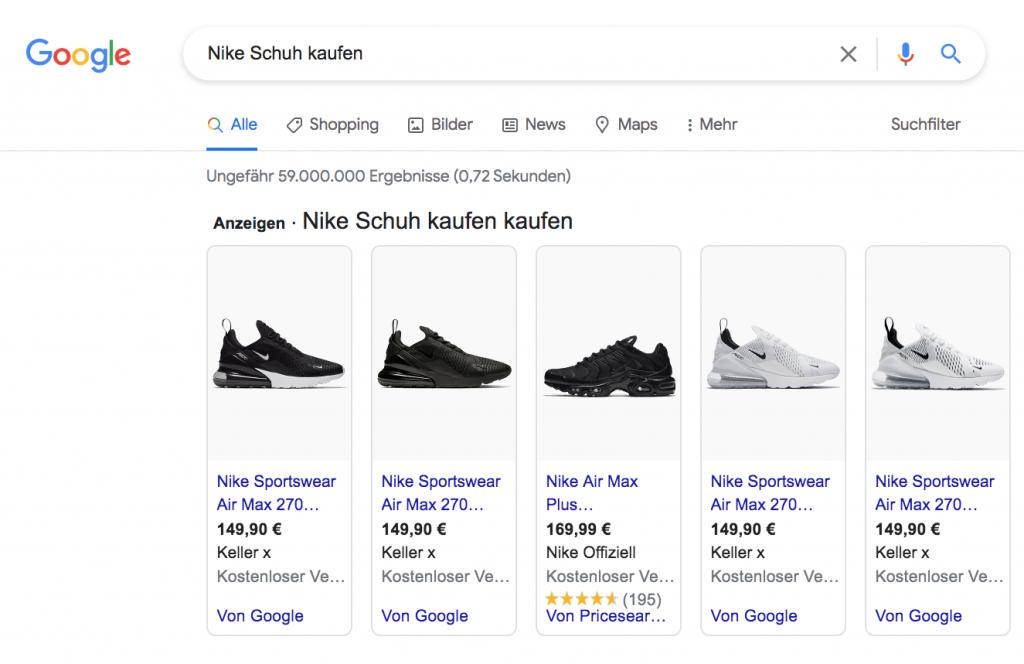 Google Shopping Ergebnisse in der Google Suche